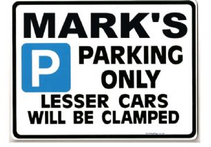 Mark Personalised Car Parking Sign - Gift for mark the petrol head  Size Large 205 x 270mm